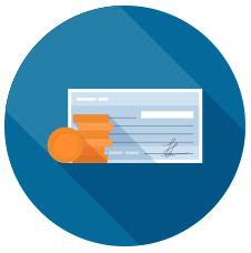 Circular icon representing Worker's Compensation - money and check illustration