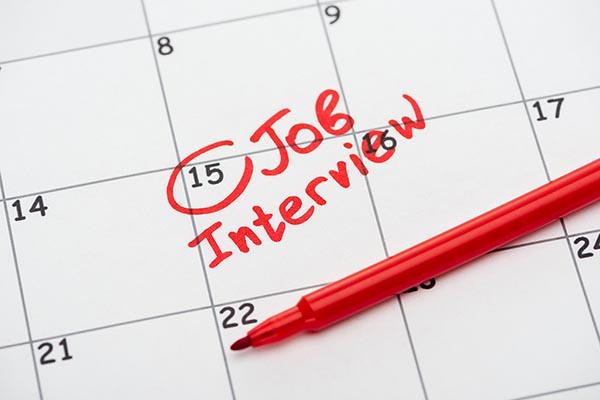 Calendar with a job interview reminder