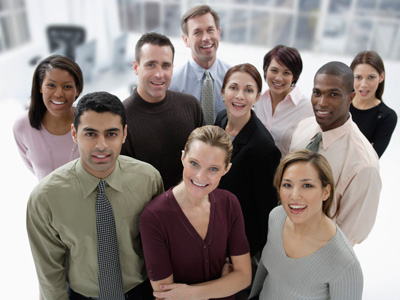 Photo of a group of smiling people